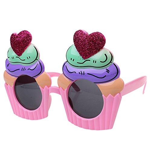 Baoblaze Lustige Sonnenbrillen für Party Kostüm, Herz Cupcake Muster