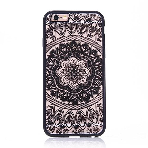 iPhone Case Cover Nationale Art-Spitze-Mandala Flowers Printed Design Schütz PC harte rückseitige Abdeckung Case + TPU Bumper für iPhone SE 5S 6 6S plus ( Color : Pink , Size : IPhone 6S Plus ) Black