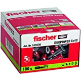 FISCHER Taco DuoPower 8x40 (Caja de 100 Ud.), 555008, Gris, 8 x 40 mm, Set Piezas