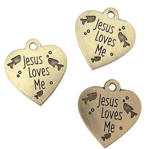 Silber Ton Jesus loves me Herz Form Katze Halsband Charm Medaille, 2,5cm, 3Stück (Katze Halsbänder Für Männer)