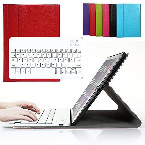 luetooth Tastatur mit QWERTZ deutsches deutsches deutsches Tastaturlayout für iPad Air 2/iPad 6 Tastatur Schutz Hülle Tasche Keyboard Case Rot ()