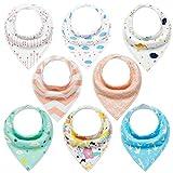 Baby Dreieckstuch Mädchen Lätzchen 8er Halstücher Set Baumwolle Spucktuch mit Druckknöpfen von YOOFOSS
