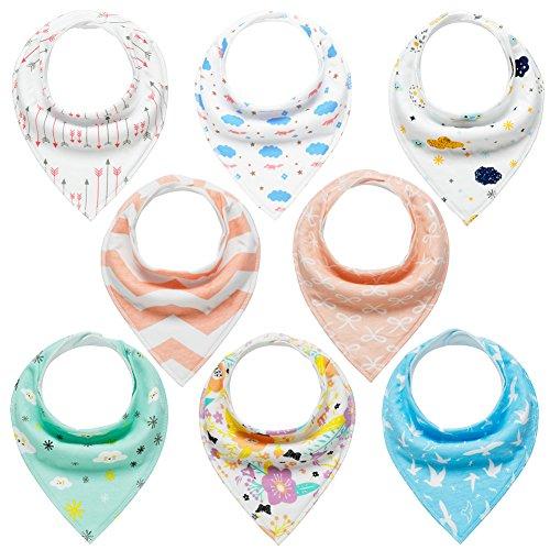 Baby Dreieckstuch Lätzchen 8er Saugfähig Weich Spucktuch Lätzchen Baumwolle Halstücher mit Druckknöpfen für Baby Jungen und Mädchen Kleinkinder von YOOFOSS (Mädchen)