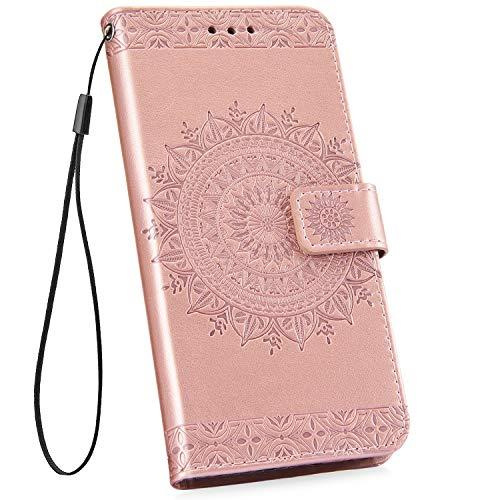 Ysimee kompatibel mit Samsung Galaxy S10 Hülle Handy Schutzhülle [Pu Leder] [Standfunktion] [Kartenfach] [Magnetverschluss] Schlanke Leder Brieftasche Flip Case Protective Tasche, Totem- Rose Gold -