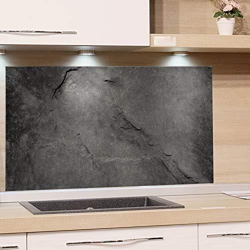 GRAZDesign Küchenrückwand Glas Grau, Bild-Motiv Granit Grau Marmor, Glasbild als Spritzschutz - Küchenspiegel - Wandschutz Küche Herd / 60x40cm