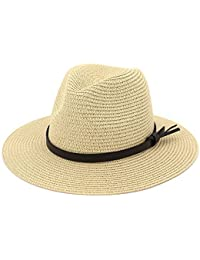 4cb28a0b EINSKEY Ladies Sun Hat Panama Straw Hat Packable Wide Brim Summer Beach Hat  Fedora Trilby Hat