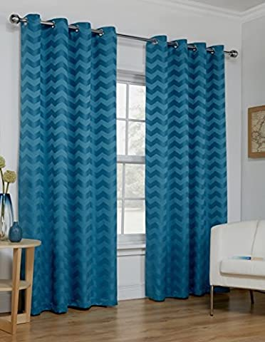 Ready Made Teal Curtains Zig Zag Effect Design Ring Top Eyelet Lined Sizes Pair [Size 46