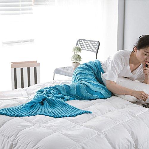 Mädchen Stricken Meerjungfrau Schwanz Decke Geschenk Mit Streifenmuster, Handgefertigt Häkeln Schlafsack Super Weich Schlummer Tasche für Sofa Wohnzimmer Alle Jahreszeiten (Blau)
