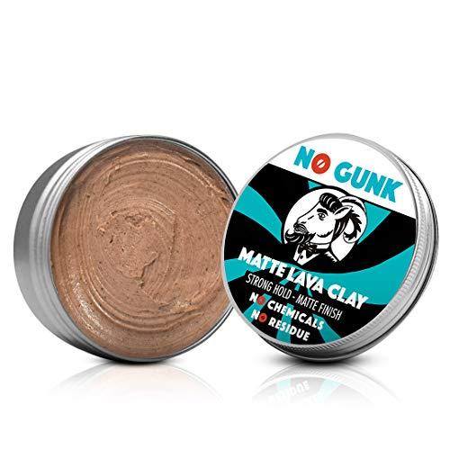 NO GUNK 100% Natürliche Matt Clay Haarwachs/Haarpaste - Starker Halt - Nur mit natürlichen und bio Inhaltsstoffen - Matte Lava Clay (Ohne Parfüm, 50g)