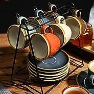 طقم فناجين قهوة ايثيوم وصحن بلون نقي