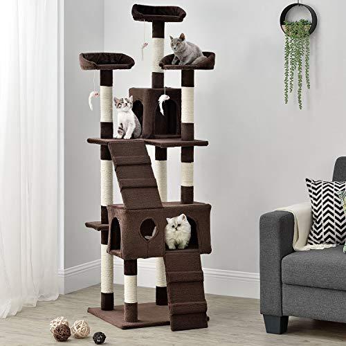 Sam´s Pet Katzen Kratzbaum Amy | braun | 170 cm hoch | Katzenkratzbaum inkl. Höhlen, Liegeflächen, Treppen & Sisal | Katzenbaum Kletterbaum