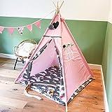[TIPI ZELT MIT SPIELMATTE] Indianerzelt für Kinder -ideal für Kinderzimmer - Wigwam 140x120x120 cm - Tipi tent Baumwollsegeltuch - Für in und um ihr haus - mit 4 Holzstangen und Fenster - GadgetQounts
