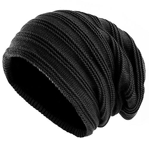SANDALUP Wintermütze Gestrickte Mütze mit weichem Korallen Samt-Futter Mütze für Damen und Herren,Schwarz (Kaschmir-jersey-t-shirt)