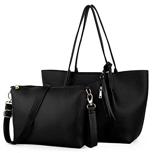 UTO Damen Handtasche Set 3 Stück Tasche PU Leder Shopper klein Schultertasche Geldbörse Trageband schwarz (Uhrarmband-geldbörse)