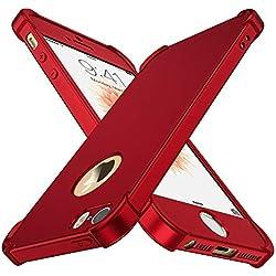 """Coque iPhone SE / 5S / 5, avec[2 x Protecteur D'écran en Verre Trempé] ORETech iPhone se/5s/5 Housse Hybride Robuste 2 en 1 Antichoc Mince Anti-Rayures Dur PC+TPU pour iPhone Se Case 4""""Rouge"""
