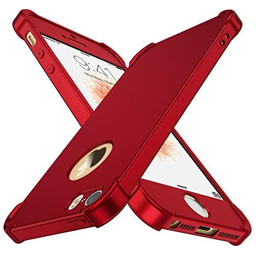 ORETECH Cover iPhone SE / 5S / 5, con [2 x Pellicola Protettiva Vetro Temperato] 2 in 1 Custodia iPhone 5/5S/SE Ultra Sottile Hard PC + TPU Silicone Anti-Graffio per iPhone SE Cover - Rosso