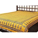 Cloud Mart Cotton Light Weight Rajasthani Print Reversible Double Bed Quilt, 210x265cm(Light Yellow)