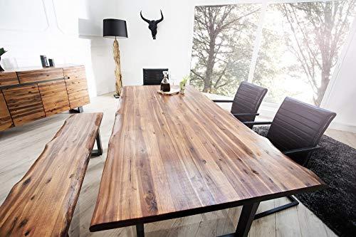 Massiver Baumstamm Tisch GENESIS 200cm Akazie Massivholz Baumkante Esstisch mit Kufengestell Industrial Finish Küchentisch Holztisch