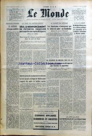 MONDE (LE) [No 7153] du 12/01/1968 - LE VATICAN ET...