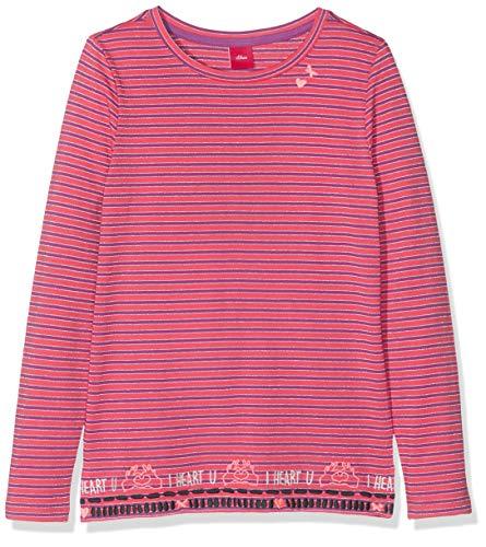 s.Oliver Mädchen 53.908.31.8763 T-Shirt, Rosa (Pink Knitted Stripes 45g0), 128 (Herstellergröße: 128/134/REG)