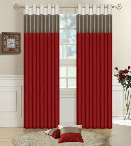 3 Tone Faux Silk Pair of Ready-made Curtains With Tie-Backs, 66″ x 72″ Cream/Taupe/Red – Mountain Moose Co.
