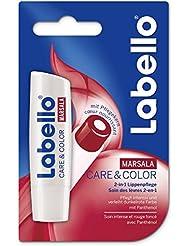 Labello Care & Color Marsala / 2-in-1 Lippenpflegestift im 4er-Pack (4 x 4,8 g) / Lippenpflege gegen trockene und spröde Lippen / Lippenbalsam sorgt für intensive Pflege und verleiht zarten Farbton
