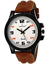 HASHTAG White Dial Brown Strap Analogue Watch for Men