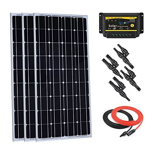 Este kit solar Giosolar de 300 W incluye: - 3 piezas Panel solar monocristalino de alta eficiencia de 100 W con 90 mm de cable solar especial y conectores impermeables. Controlador de carga PWM 30 A LED 12 V/24 V. - Cable solar de 5 metros con conect...