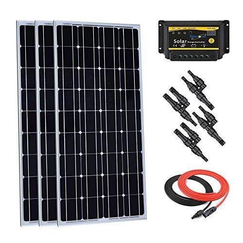 Giosolar 300watt solare monocristallino starter kit con 30a pwm led charge controller per camper barca off-grid off-grid kit 12volt batteria sistema
