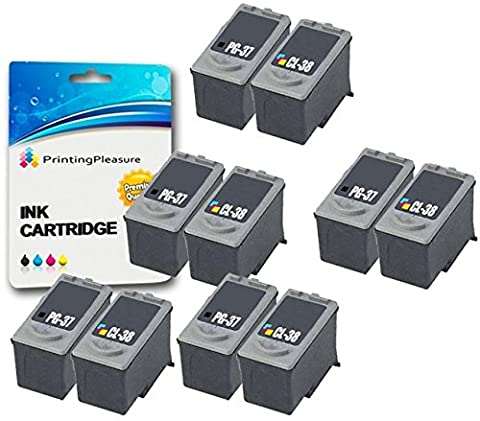 10 (5 SETS) Remanufactured Canon PG-37 CL-38 Ink Cartridges for Pixma iP1800 iP1900 iP2500 iP2600 MP140 MP190 MP210 MP220 MP470 MX300 MX310 - Black/Colour, High