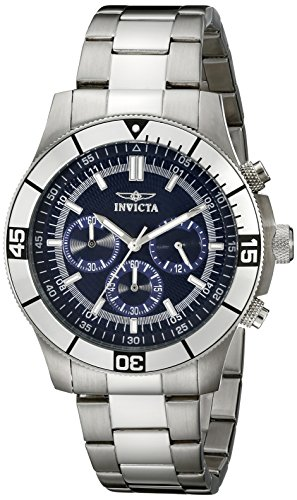 Invicta Watch Specialty Unisex Quartz Watch with Blue Dial Chronograph Display and Silver Stainless Steel Bracelet 12840