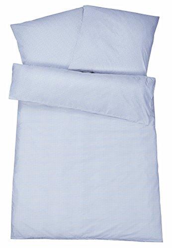 Kühle Mako Perkal Sommerbettwäsche 135 x 200 cm Blau aus 100 % Baumwolle für besten Schlafkomfort bei warmen Temperaturen – 2-teiliges kariertes Bettwäsche Set mit Kopfkissen-Bezug 80 x 80 cm
