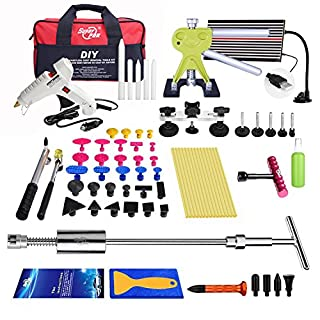 AUTOPDR® 65Pcs Car Body Paintless Dent Repair Tools Kit Hail Damage Door Dings Slide Hammer Lifter Glue Gun Line Board Puller Sets Tool Bag
