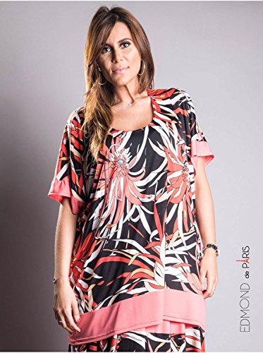 Vêtement Femme Grande Taille Tunique fleur Edmond Boublil corail Corail