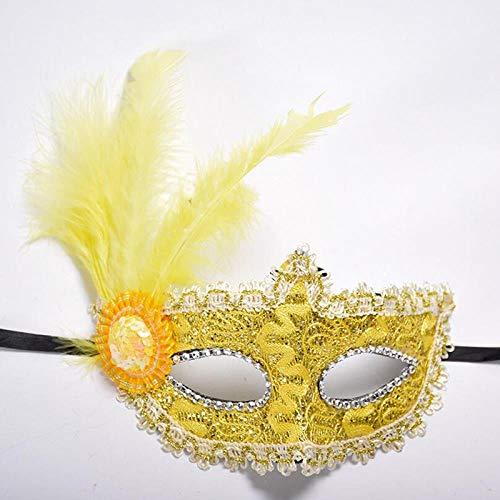 Illusion Kostüm Dance - AWJQ Weibliche Spitze Feder Blume Augenmaske Halloween Maskerade Maske Mädchen Half Face Party Dance Maske, Gold