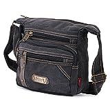#5: AlexVyan Canvas Messenger Sling Shoulder Bag with 3 9 inch Long Outer Pocket for Phone I for Men and Women - Grey