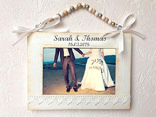 Bilderrahmen für das Hochzeitspaar Weiß Shabby Chic – Bilderrahmen personalisiert – Hochzeitsgeschenk – Geschenk zur Hochzeit – Bilderrahmen Shabby Chic mit Gravur