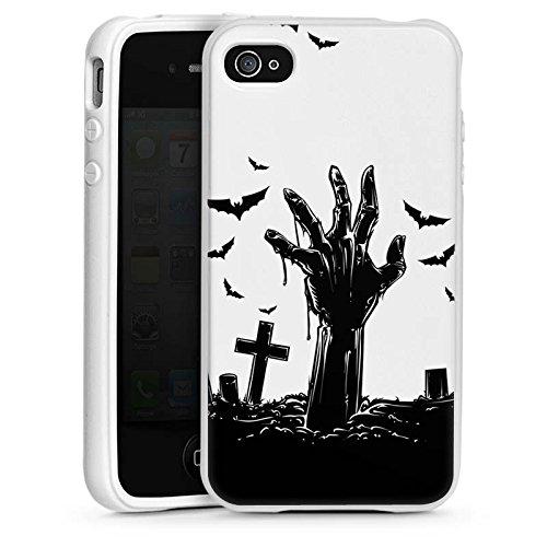 (Apple iPhone 4 Silikon Hülle Case Schutzhülle Zombie Halloween ohne Hintergrund)