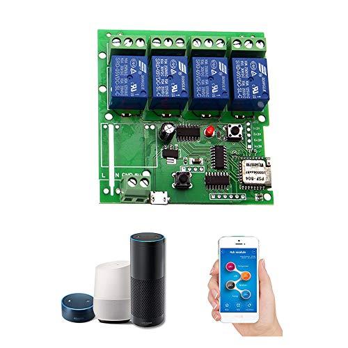 OWSOO sonoff Smart Fernbedienung Wireless Schalter Universal Modul 4CH DC 5V Wifi Schalter Timer Handy App Fernbedienung Unterstützung Alexa Voice Control für Smart Home