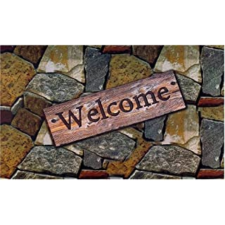 Achim Home Furnishings RM1830QS06 Outdoor Rubber Mat, Welcome Quarry Stones
