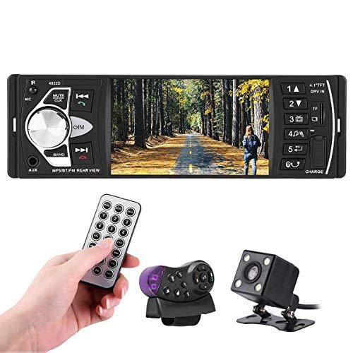 Autoradio Bluetooth, Parkomm 4.1 Pulgadas Radio Coche, MP5 Autoradio, Pantalla HD, Llamadas Manos Libres, Función de Radio, Función Inversa, Soporte Bluetooth/USB / TF/AUX / FM (con Camara)
