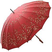 Paraguas &Doble Sombrilla Larga con sombrilla Retro 16 Sombrilla para Mujer con Forma de Hueso para