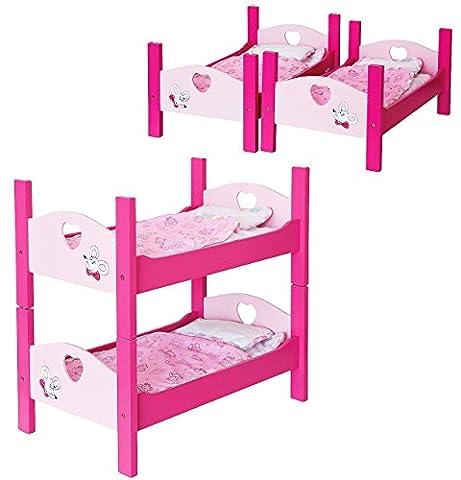 Puppenbett als Doppelstockbett aus Holz - umbaubar zu Einzelbetten - 53 cm lang - Etagenbett für Puppen - incl. Bettzeug und Kissen - rosa Holzbett Bett Baby - Puppe - Puppenstockbett Puppenbettchen / Puppenbettzeug