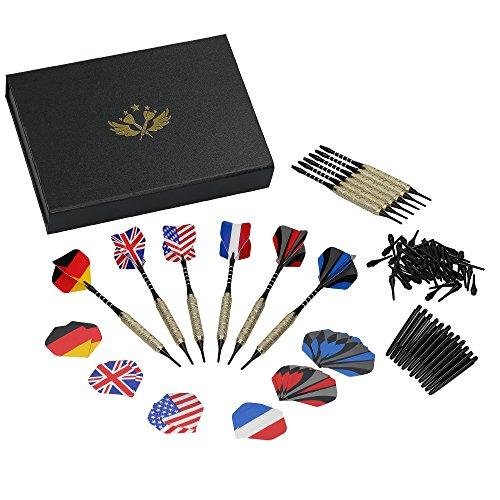 DABT Soft Dart Set / 12 Dartpfeile / 24 Flights / 50 Soft-Tips / 24 Shafts / 12 O-Ringe / Geschenkbox / Aufbewahrungsbox / E-Darts / elektronisches Dartspiel / Softdartpfeile / Geschenkset