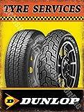 RKO Dunlop Pneu SERVICES AUTO MOTO roue moto garage métal/PANNEAU MURAL métalique - 20 x 30 cm