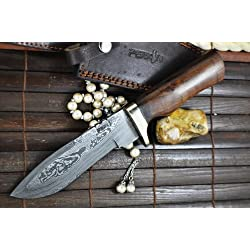 Perkin Knives Cuchillo de caza con cuchillo damasco