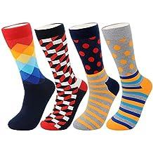 FULIER Hombre de 4 Pack Stripe algodón rico, cómodo, transpirable, diseño elegante calcetines de colores de moda