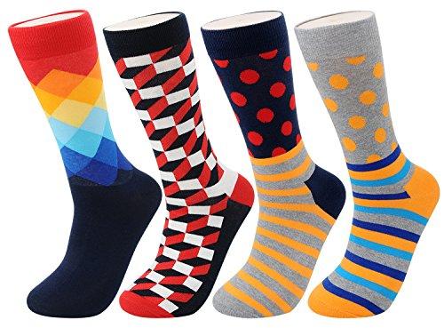 FULIER Hombre de 4 Pack Stripe algodón rico, cómodo, transpirable, diseño elegante calcetines de colores de moda (Color1)