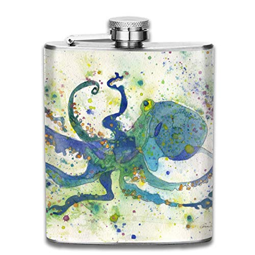 Watercolor Ocean Octopus Retro Portable 304 Stainless Steel Leak-Proof Alcohol Whiskey Liquor Wine 7OZ Pot Hip Flask Travel Camping Flagon for Man Woman Flask Great Little Gift