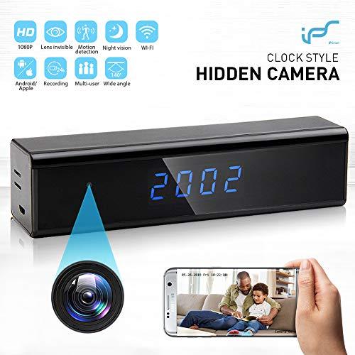 Caméra Espion,Mini Caméra Cachée WiFi Réveil Caméra de Surveillance de Vision Nocturne 1080P...